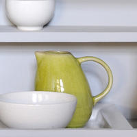 handmade stoneware jug  (in white and tilleul green)