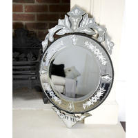Venetian Small Round Etched Mirror
