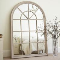 Cream Large Arched Window Mirror