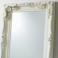Carved Floor Standing Mirror Cream