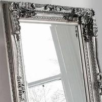 Carved Floor Standing Mirror Silver