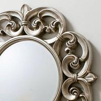 Ornate Round Pewter Mirror