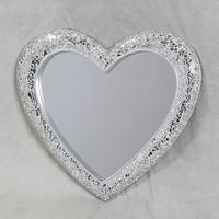 Mosaic Crackle Glass Small Heart Mirror