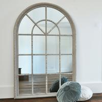 Grey Large Arched Window Mirror