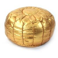 Moroccan gold leather pouffe