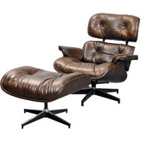 Antique Distressed Leather Eames Chair With Footstool