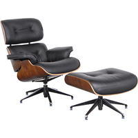 Black Leather Eames Chair with Footstool