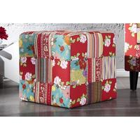 PRINTEMPS - design patchwork cube stool floral footstool