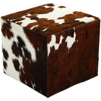 Amara - Cow Skin Cube Pouf - Natural/Brown