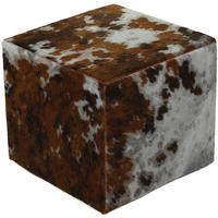 Amara - Cow Skin Cube Pouf - Grey/Brown