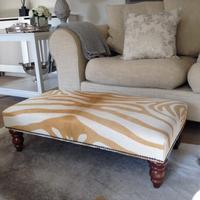 1.5ft x 3ft Cowhide Footstool  YELLZEB