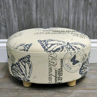 Vintage Oval Linen Butterfly Printed Footstool
