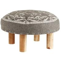 Foot Stool Grey Embroidered by Hubsch