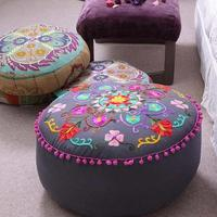 Indian summer embroidered pouffe