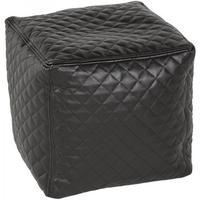 Lazy - black faux leather ottoman cube