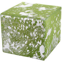Amara - Acid Burnt Cow Skin Cube Pouf - Green/Silver