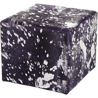 Amara - Acid Burnt Cow Skin Cube Pouf - Purple/Silver