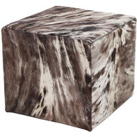 Amara - Speckled Cow Skin Cube Pouf - Brown