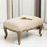 Natural Linen Upholstered Footstool