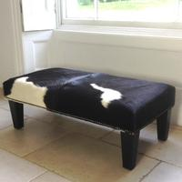 1.5ftx 3ft  Black and White Cowhide Footstool FSBR03