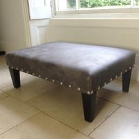 40% off 2ftx 3ft Italian Dark Grey Leather Footstool FSL02