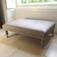 2ftx 3ft Italian Grey Leather Footstool FSL01