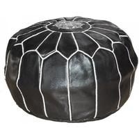 Moroccan Leather Pouffe - black with white stitching
