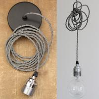 Nostalgia Lights Industrial style Edison Pendant Set - Plain Skirt - Chrome