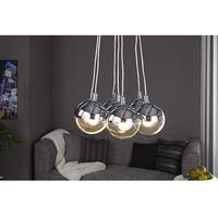 Sirius pendant light with 7 glass balls and chrome plating