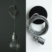 Nostalgia Lights Plain Skirt Edison Pendant Set - Chrome