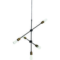 Lab 5 Light Industrial Brass Pendant