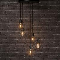 Gotham Industrial Multi Cage Pendant With Bulbs