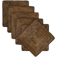 Rattan Square Placemats, Set of 4 from OKA