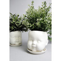 Porcelain Baby Doll Head planter and Saucer. Head space!
