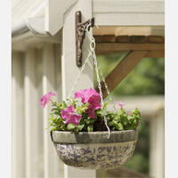 Blue and White Aged Ceramic Hanging Basket