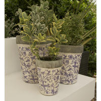 Blue and White Aged Ceramic Flowerpots - Set Of Three