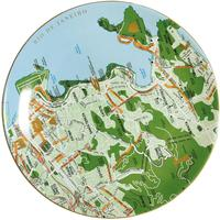 Green Porcelain Map Plates