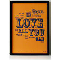 All You Need Is Love - Letterpress Print.  Fab!