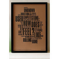 Like A Rolling Stone - Letterpress Art Print.  Feel it! from Magpie Miller