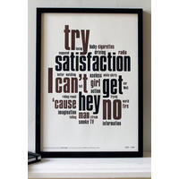 Can't Get No Satisfaction - Letterpress Art Print.  Taking the Mick!