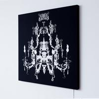 Classic Chandelier Glo-Canvas (white on black background) from Duffy London