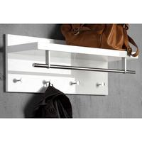 Coat rack with shelf and rail - white