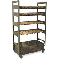 Harlem Vintage Industrial Wine Shelf Rack On Wheels