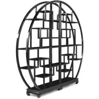 Chinese Circular Display Shelf - black lacquer