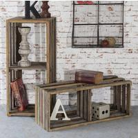 Vintage Industrial Crate Shelves