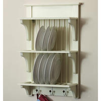 Wooden Plate Rack Wall Shelf-Distressed Antique Cream