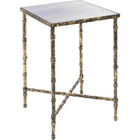 Antique Gold Bamboo Mirrored Side Table