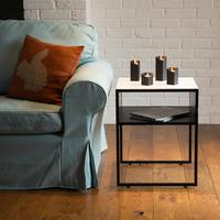 Square Side Table in White and Grey