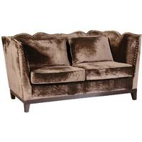 Chocolate velvet 2 seater sofa