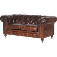 Vintage Leather Two Seater Chesterfield